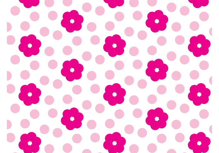 Textiles t-shirt swatch repeating print Polka pastel motif Magenta girly free backgrounds floral female fashion dots card
