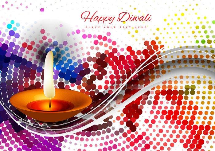 wave pattern oil lit lamp halftone glowing dot Diwali colorful clay circle celebration card background