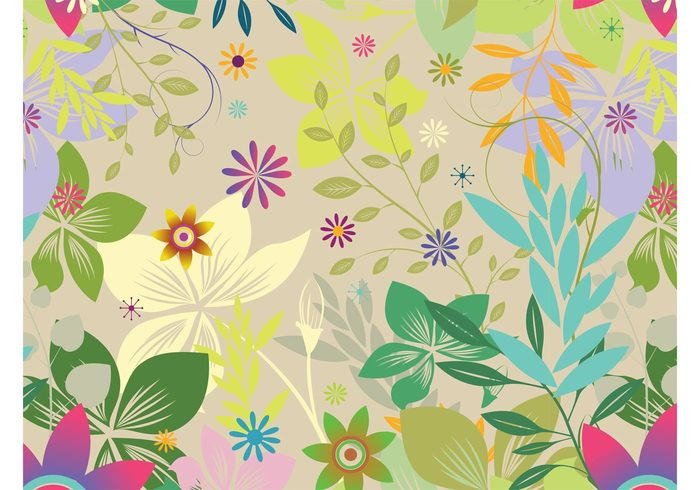 wallpaper tropical swirls Stems seamless pattern plants petals park lines leaves jungle garden floral colorful background
