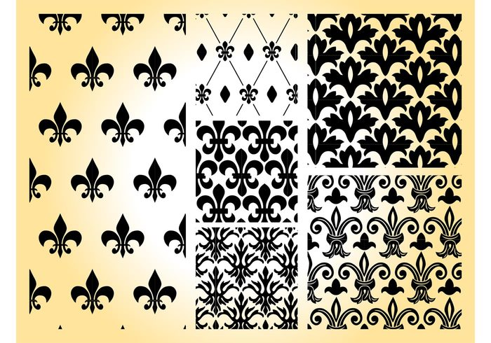 wallpapers tiles symbols swatches squares seamless patterns retro rectangle lily geometric shapes flowers floral fleur de lis Backgrounds