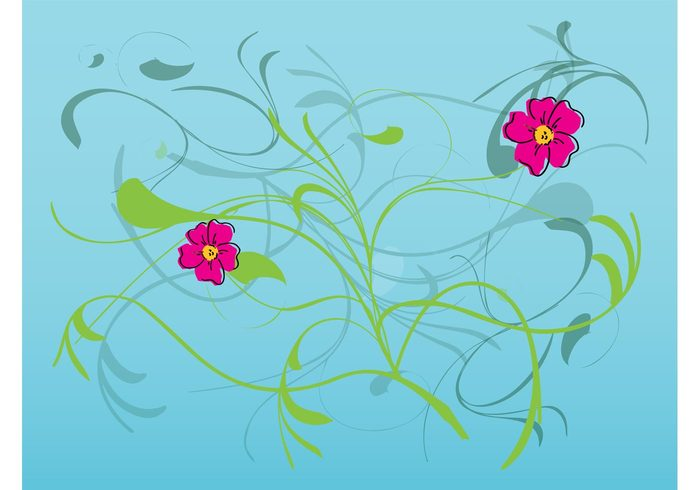 Stems spring plants petals nature natural leaves hand drawn floral decorations Clothing print blossoms background