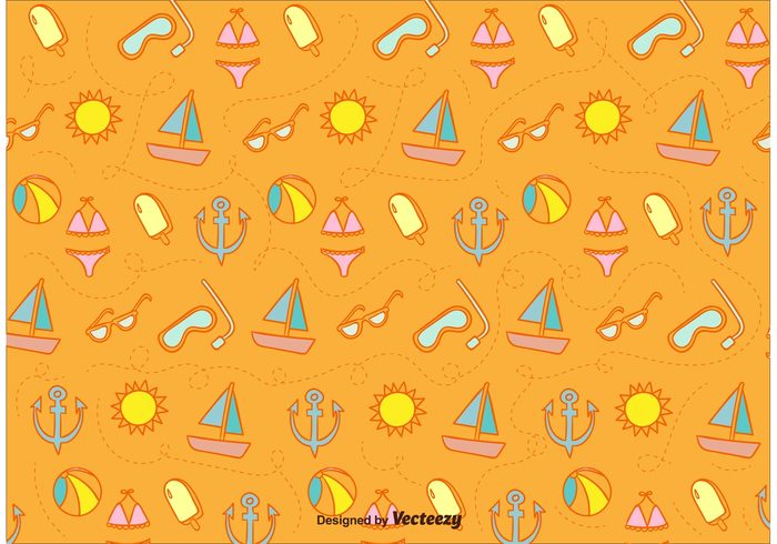 wallpaper vintage vacation travel tourism time tileable sunglasses sun summer seamless sea retro pattern illustration icon hipster doodle cartoon beach backround background anchor