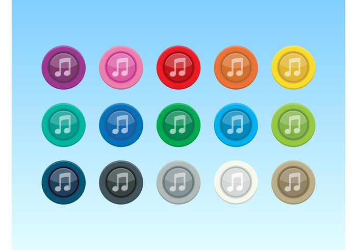Tunes sound Song shiny shadow reflection note musical note mp3 listen colorful buttons Button vectors apps