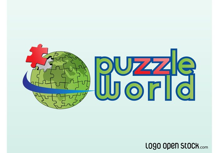 world toys text planet pieces kids jigsaw icon games earth continents branding