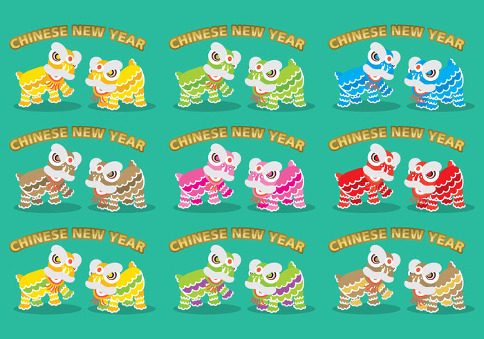 year vector traditional teeth Smile set prosperity new mouth mascot lunar lion dance lion illustration holidays head festive festival eyes dance culture comic collection chinese china character celebration Asian asia