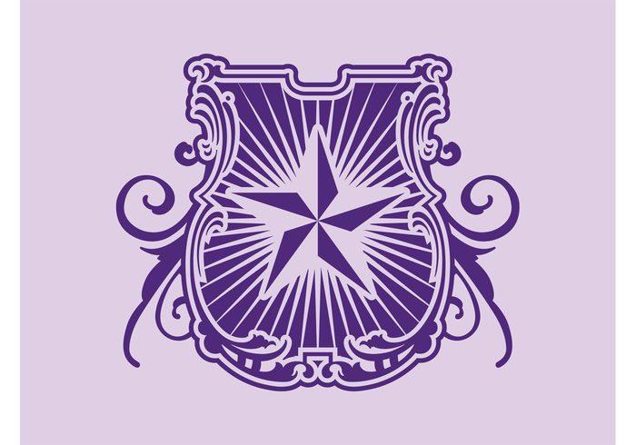 symbol swirls sticker star shield royal rays queen plants king heraldry decoration coat of arms Blazon badges badge