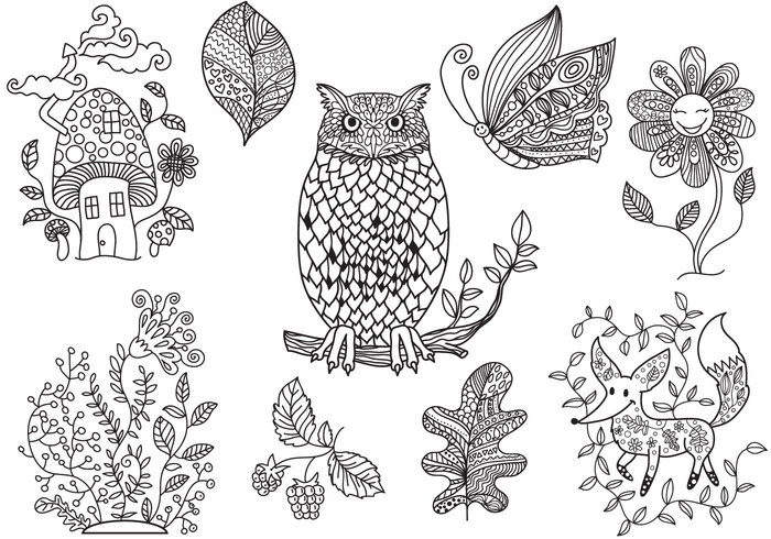 Woods Owl Mushroom Leaf Fox Forest Flower Fairy Tale Coloring Pages Page Book