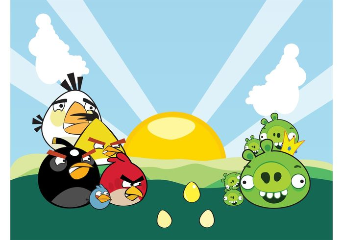 sun Smile rovio rays pigs pig nature gaming game funny fields eggs crown comic colorful clouds cartoon bird animal
