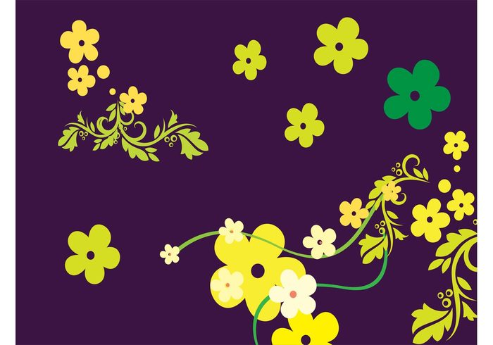 swirls stylized Stems spring sixties seventies petals nature minimal lush leaves hippie fresh flower power flower floral bloom