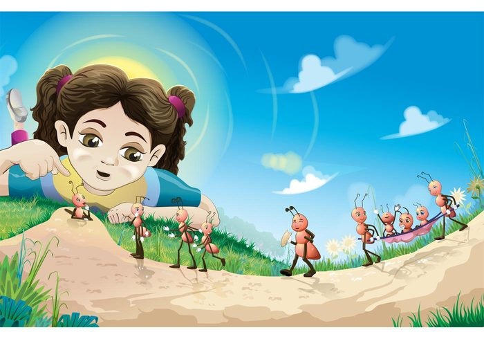 working Vector ants social school resources Organization nest nature insects Habitat girl fauna character cartoon ants