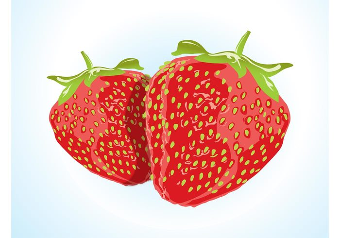 Tasty sweet strawberries shiny seeds realistic plant leaves Healthy fruit Diet delicious decal