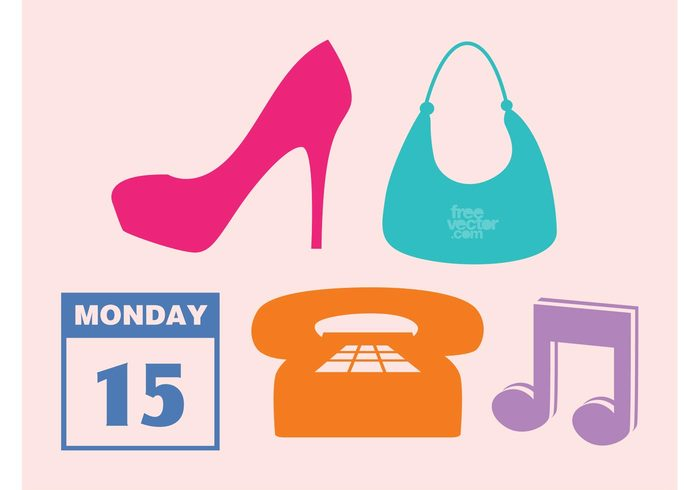 vector icons silhouettes shoes purse phone music logos icons high heels fashion communication calendar bag agenda