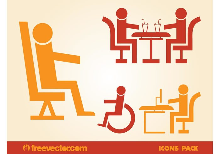 work wheelchair symbols stickers sitting sit signs seat logos icons eat drink disabled decals
