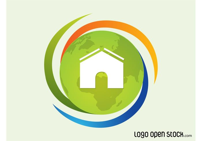 world planet logo icon house home globe geography ecology eco earth continents