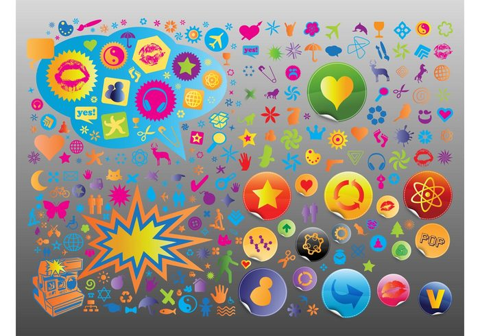 symbols stickers signs plants person nature music man love logos icons earth colors colorful car camera badges art animals