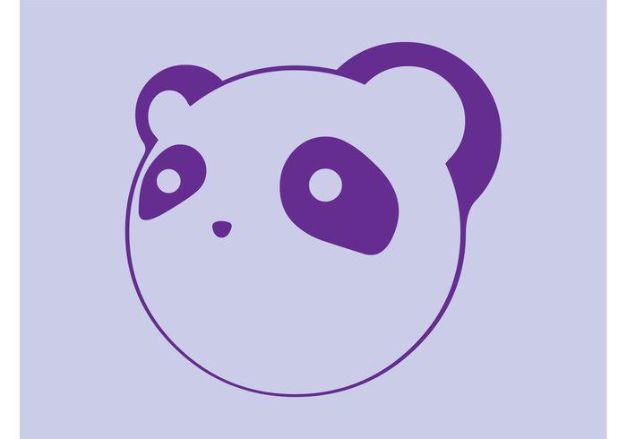 Zoo tattoo Stylized panda sticker print panda nature logo icon head fauna face decal comic cartoon animal