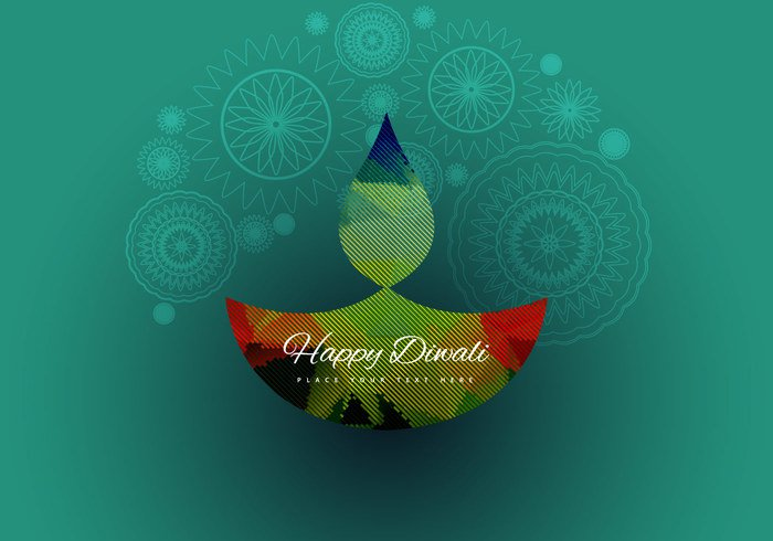 Rangoli pattern oil line lamp happy green festival diya Diwali design colorful celebration card background