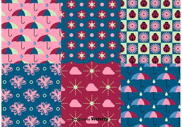 weather wallpaper umbrella pattern umbrella sun summer spring pattern spring season seamless rainy rain plant pink pattern nature leaf ladybug flower floral cute bug background autumn
