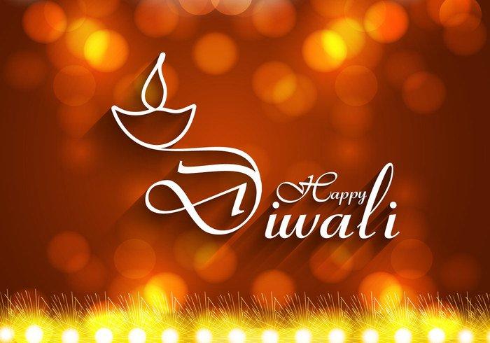 white lamp happy glowing firecracker festival diya Diwali deepawali decoration celebration card bright bokeh background