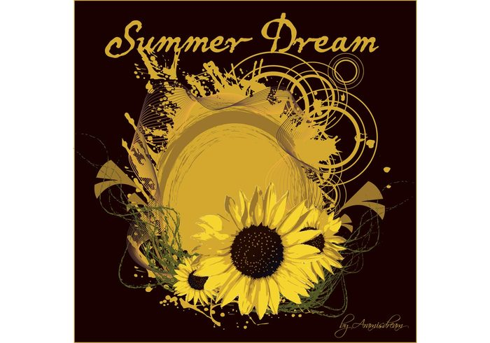 yellow wallpaper vector sunflower summer shapes season poster nature illustration grunge greeting card graphic fun free vector flyer flower editable design circle background