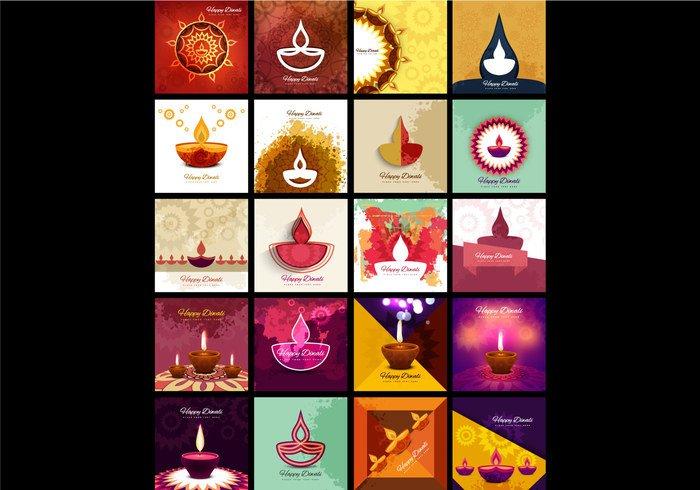 wallpaper traditional set light lamp greeting festival diya Diwali design deepawali decoration collection celebration background