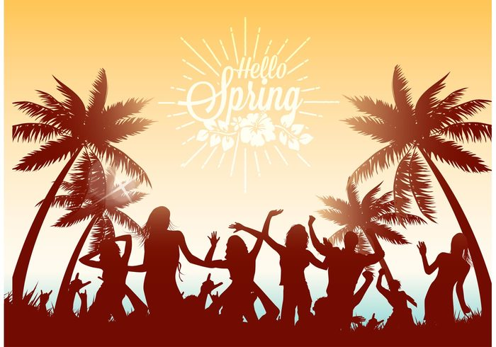 young women vector vacation Under twilight tropical tree Teenage sunset sunlight sun summer Spring break spring sillouette silhouette shore sexy sea people party palm trees palm night music illustration horizon holiday group girl friendship friends festival evening disco design dancers dance celebration break beach background