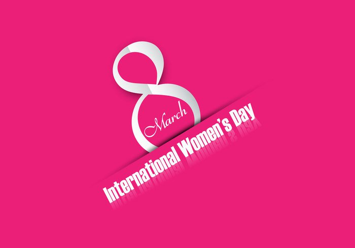 woman template pink March international holiday greeting eight day celebration card brochure background art 8