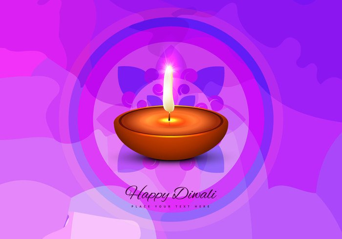 sparkling Rangoli oil lit lamp happy glowing flora Diwali Composition colorful circle celebration card background