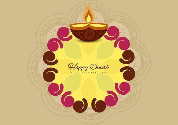 religion Rangoli pattern lit lamp india happy diya Diwali deepawali decoration celebration card beige background