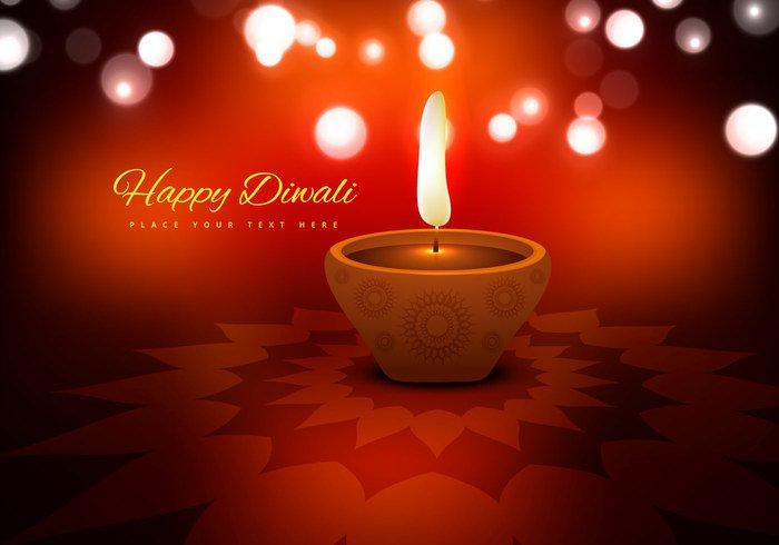 red Rangoli lit lamp illuminated glowing diya Diwali decoration clay circle celebration card background