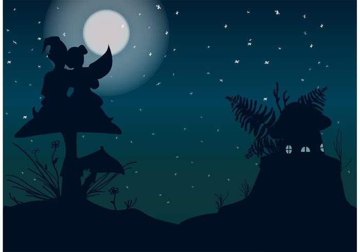 toadstool stars shadow nature mushroom moonlight moon lovers gnomes gnome house gnome background gnome forest flowers ferns fantasy fairytale fairy landscape fairy Faerie Elf