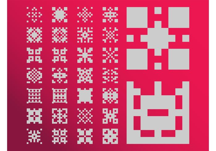 vintage tiles swatches squares retro pixels pixelated Patterns old school icons Geometry geometric shapes gaming eighties computer 80's