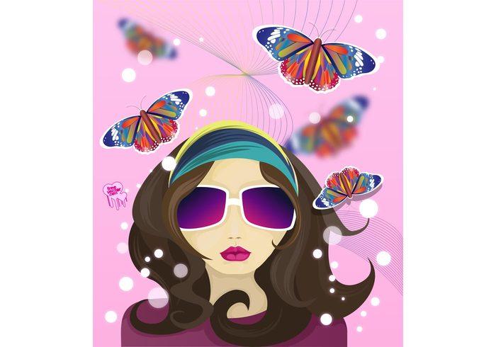 woman sunglasses spring scarf portrait nature hippie girl female fashion face design butterfly butterflies bubbles beauty
