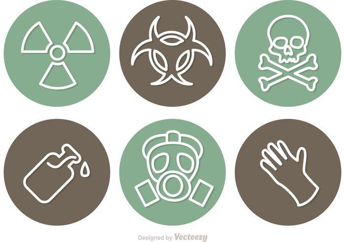 warning toxic skull radioactive radiation poison sign poison glass poison nuclear hazard gloves gas mask gas death Dangerous danger sign danger circle Biohazard