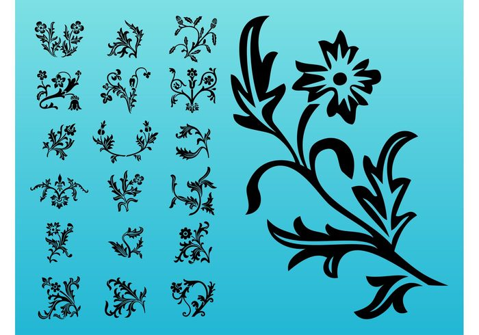 stickers Stems spring silhouettes plants petals nature leaves flowers decorations decals blossom bloom