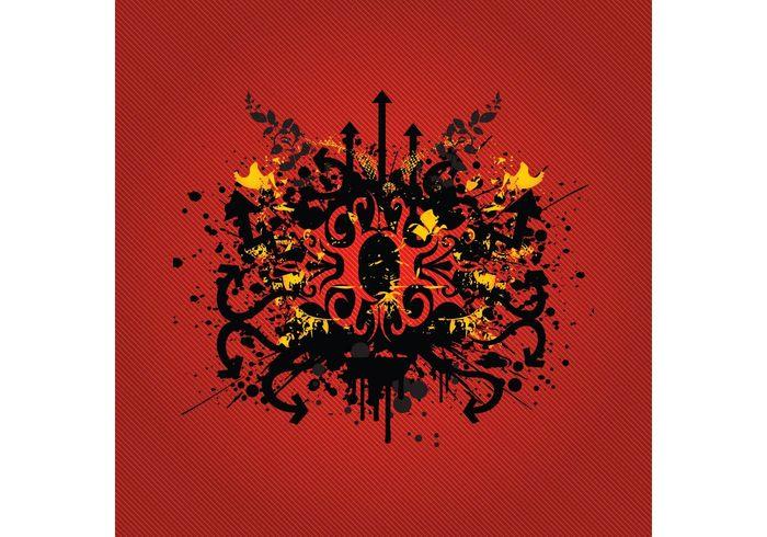 tribal tattoo Stain Spot splatter sign shapes pop art plants grunge geometric dots curves curl cool circle arrow abstract