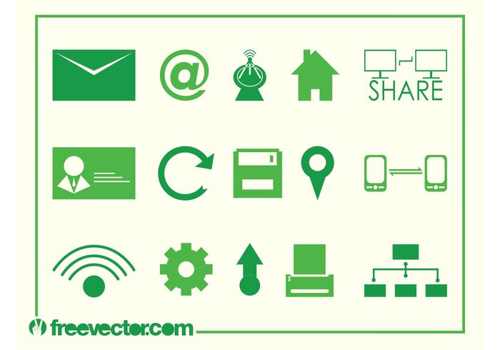 web technology tech symbols share refresh printer online network logos Location tag internet icons home email connect antenna