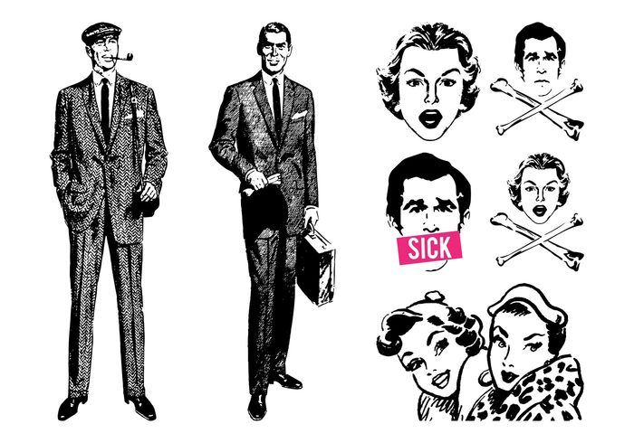 women woman vintage Smile Sick retro men man girls girl crossbones businessman bones 60's 50's