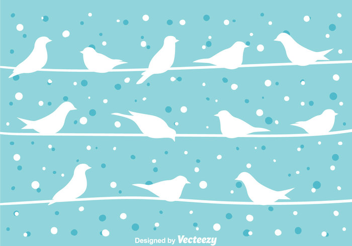 Bird On a Wire At Winter Vector 146665 - WeLoveSoLo