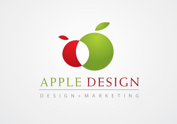template red multimedia logotype logo green fruit design appe