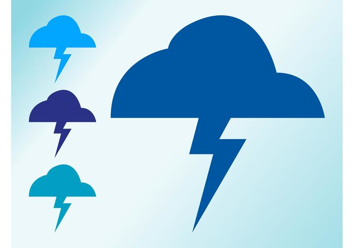 weather Thunderbolts thunder templates storm stickers sky nature logos lightning icons decals clouds Cloud vectors cloud climate