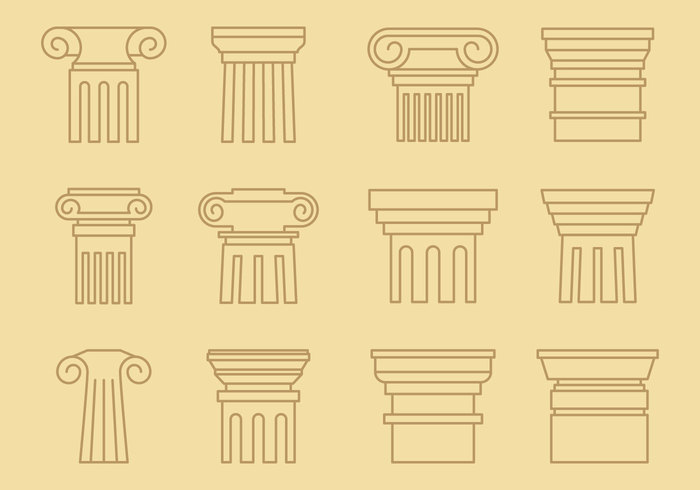 yellow white vector symbol style stone sign shape roman pillar pillar pedestal ornate order old marble logotype logo line italian isolated Ionic illustration icon greek gray graphic flat feature element drawing Doric design curve culture construction Concepts column color classical classic capital business art architecture architectural Architect antique ancient