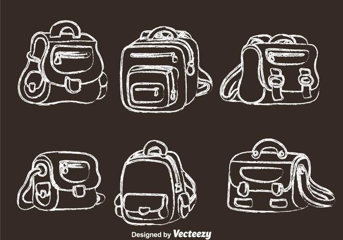 travel style sketch school bag school pack object leather fashion element duffle bags duffle bag children chalk drawn chalk draw bag