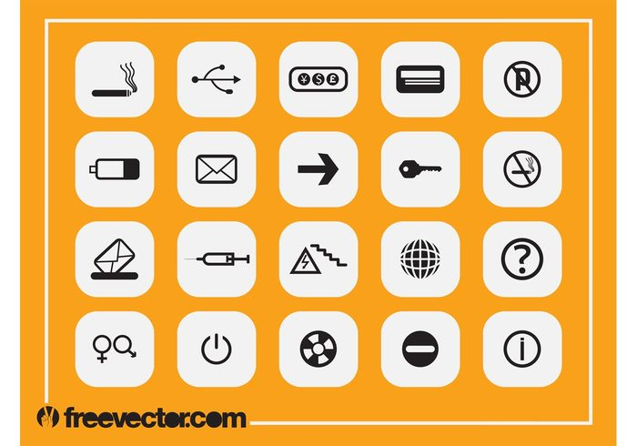 usb symbols symbol square smoking Prohibition signs power button planet mail key information icons icon globe Gender symbols currency credit card cigarette battery arrow