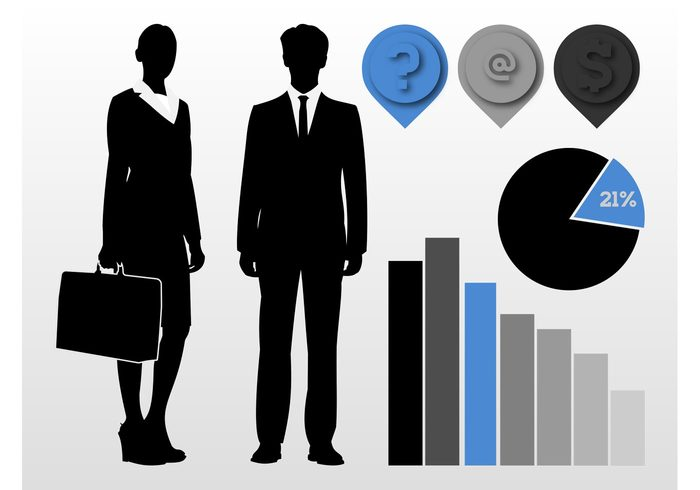 work silhouettes profession pointers pie chart Job icons diagrams corporate businesswoman businessman business bar chart