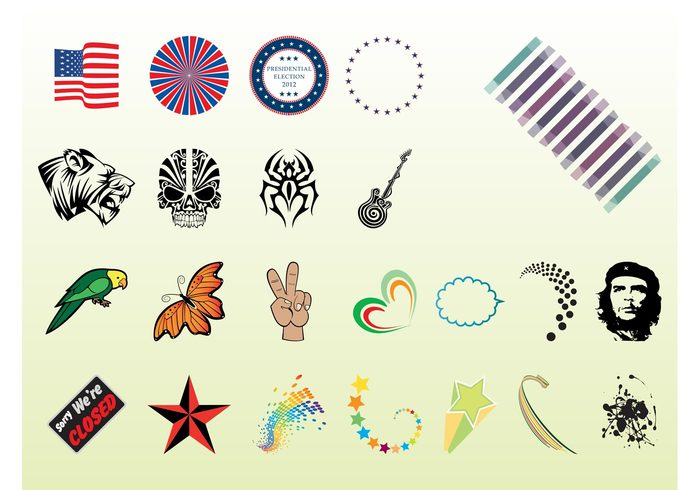 USA tattoos symbols stickers stars signs logos flag Electoral Elections decorations colors colorful animals