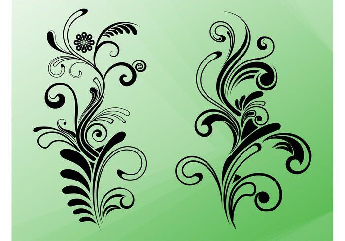 swirls Stems spirals silhouettes plants petals nature leaves floral decorative decorations