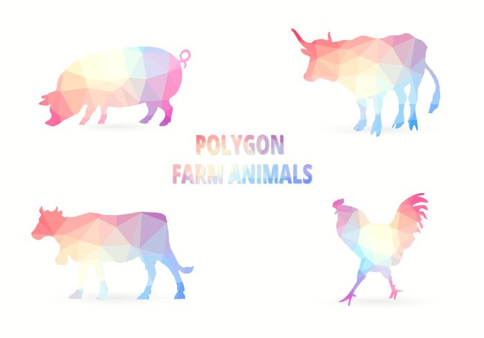 triangles sticker silhouette rooster polygonal animal polygon pattern origami nature icon hog geometric diamond cow colorful chicken bull background backdrop animals
