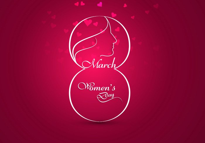 woman template pink outline March love international holiday heart shape female eight celebration card background 8