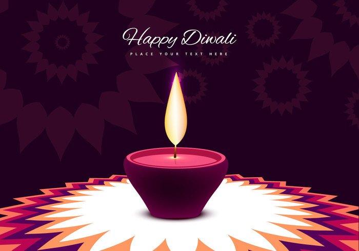 traditional culture Rangoli lit light lamp greeting flower flame festival diya Diwali decoration celebration card background